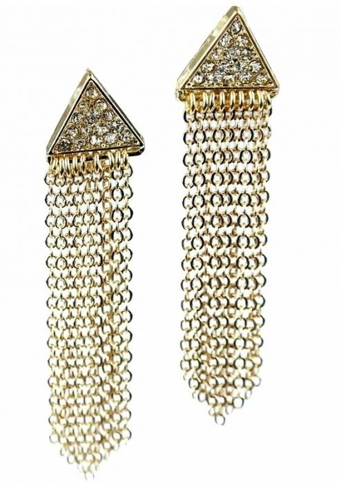 Gold Plated Crystal Triangle Earrings with Drop Chains | Nickel Free |