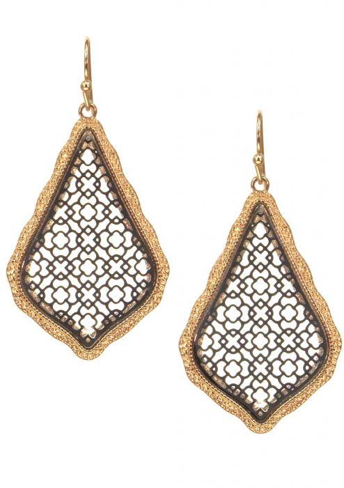 Gold & Rhodium Plated Stainless Steel Earrings | Filigree Dangle Earrings