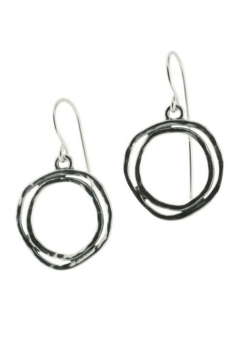 Sterling Silver Earrings | Oxidized Double Sphere Dangle |