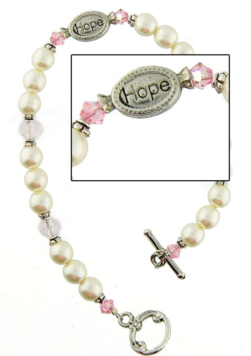 Hope Breast Cancer Awareness Bracelet - Pink Ribbon Jewelry |