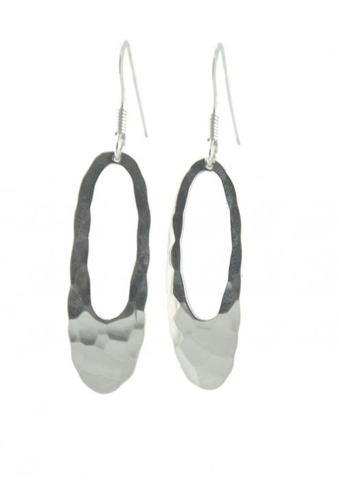 Hammered Sterling Silver Hypoallergenic Oval Drop Earrings |