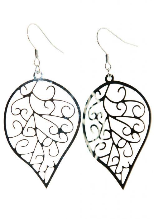 Stainless Steel Leaf Filigree Dangle Hypoallergenic Earrings