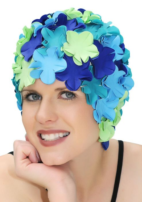 Retro Petal Flower Swim Caps | Marine Melody