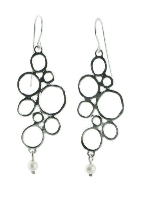 Pebble Sterling Silver Earrings with Pearl Drop |