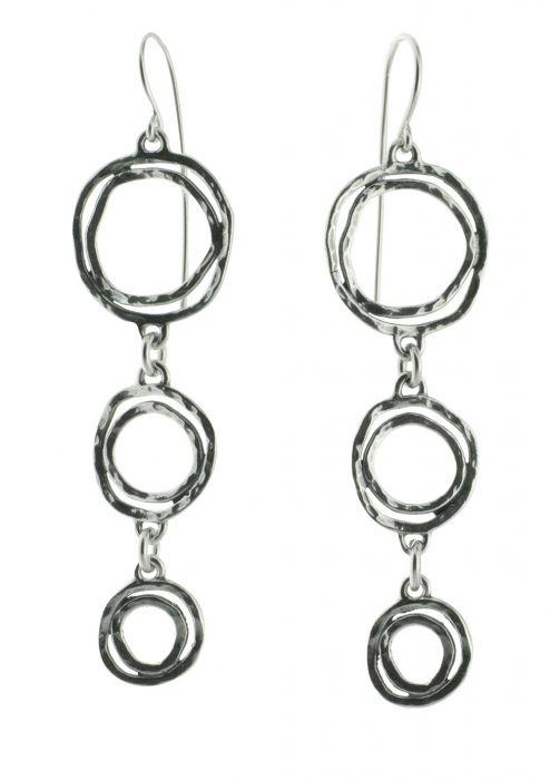 Sterling Silver Earrings | Oxidized Multi Hoop Dangle Statement Earrings |