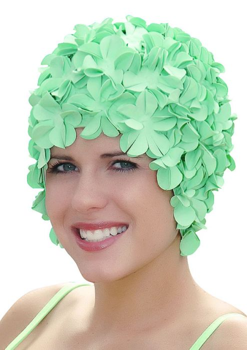 Retro Petal Flower Swim Caps | Seafoam Green