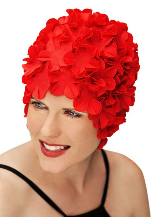 Retro Petal Flower Swim Caps  Red