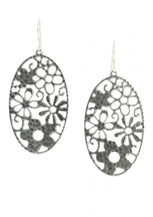 Sterling Silver Earrings | Oval Floral Motif Statement Earrings