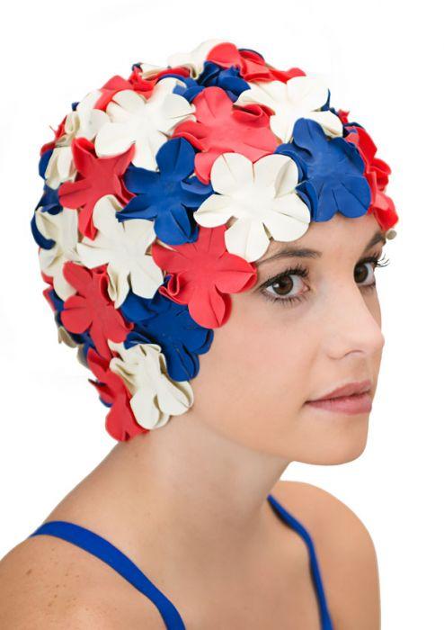 Retro Petal Flower Swim Caps | Patriotic II