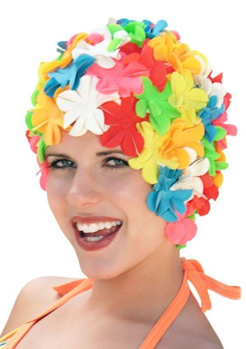 Retro Petal Flower Swim Caps in Multi Brights Multi Brights