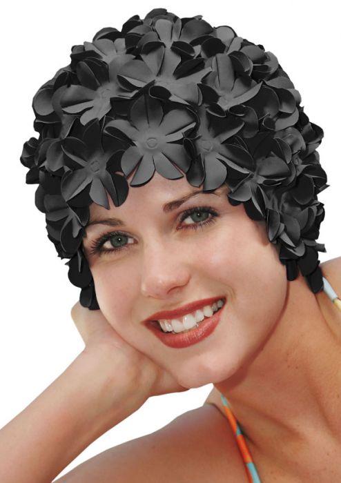 Retro Petal Flower Swim Caps | Black