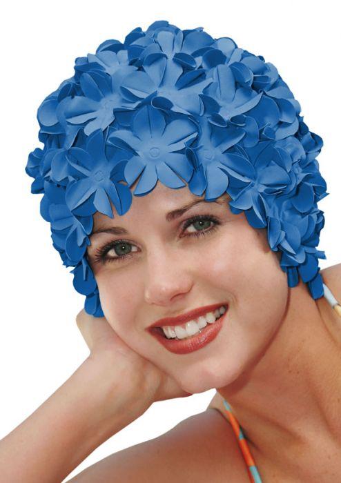 Retro Petal Flower Swim Caps Royal Blue