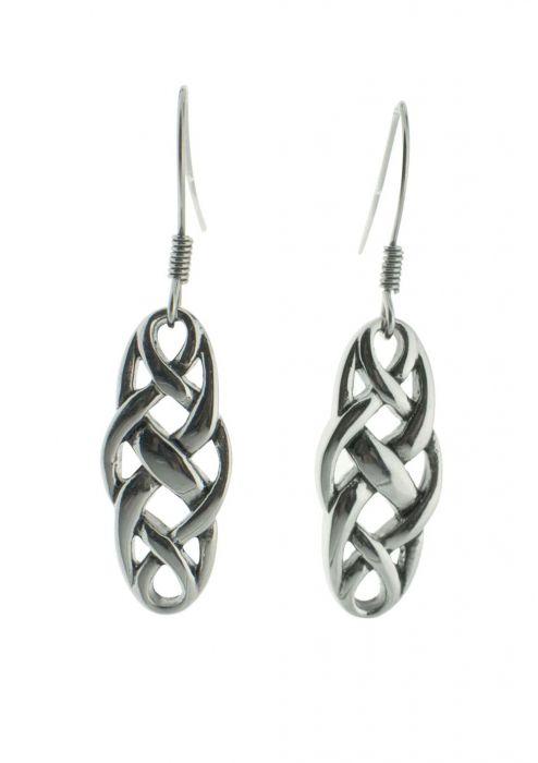 Petite Celtic Knot Dangle Earrings in Sterling Silver |
