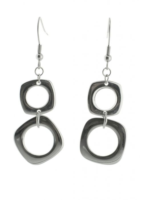 Stainless Steel Rounded Square Dangle Earring