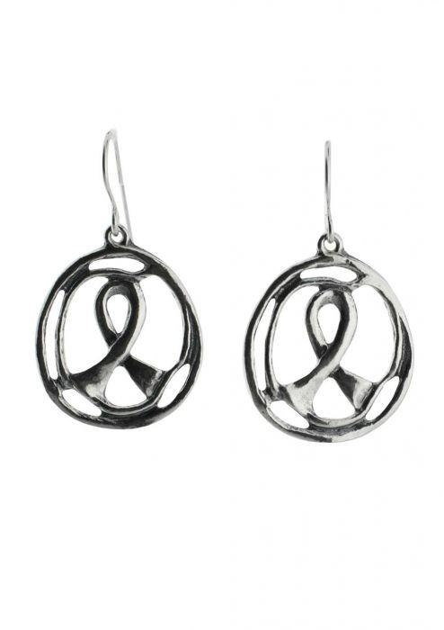 Sterling Silver Earrings | Awareness Ribbon Circle Earring |