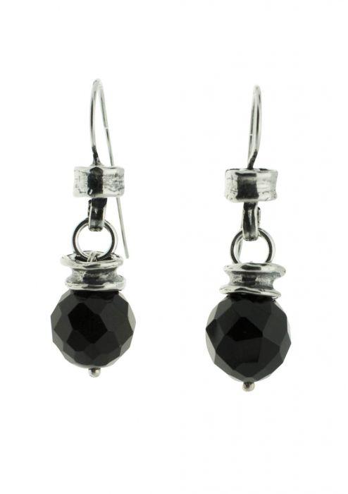 Sterling Silver Earrings   Black Onyx Drop Bead