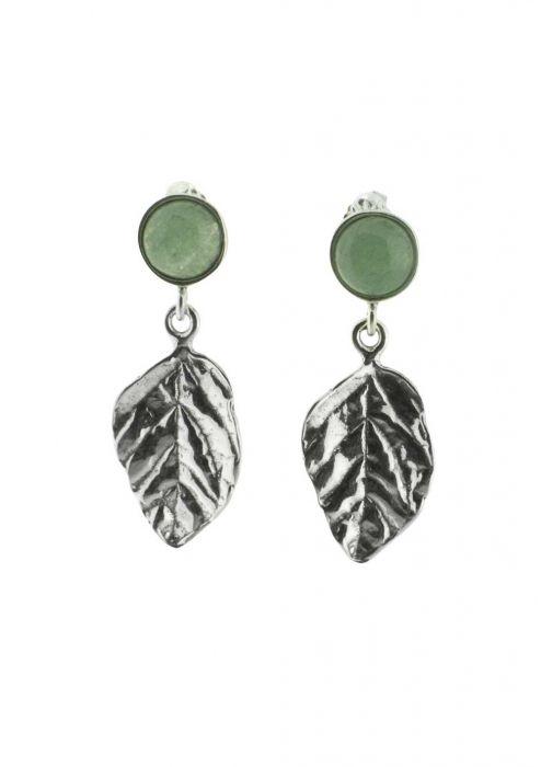 Sterling Silver Earrings   Jadeite Leaves  