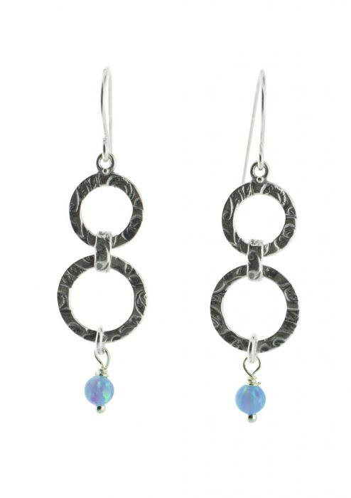 Sterling Silver Earrings | Linked Hoops with Drop Opal