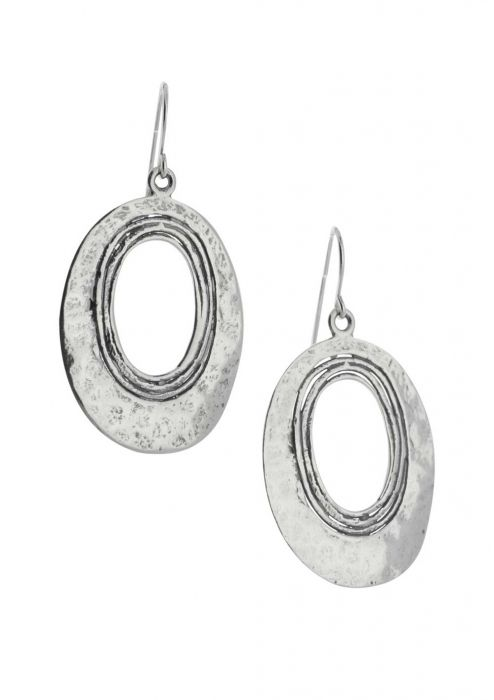 Sterling Silver Earrings | Hammered Oval Statement Earrings