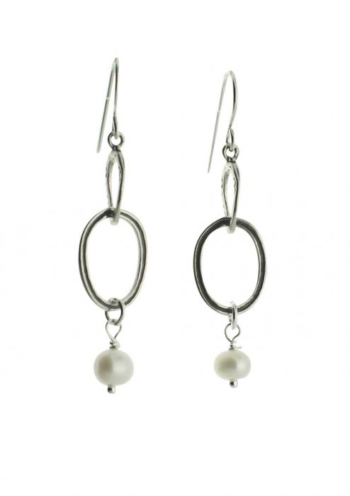 Sterling Silver Earrings | Ovals with Drop Pearls |