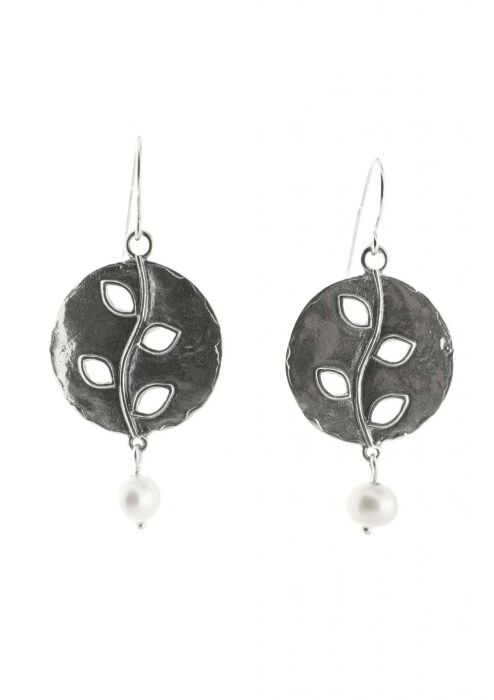 Sterling Silver Earrings   Oxidized Vine with Drop Pearl