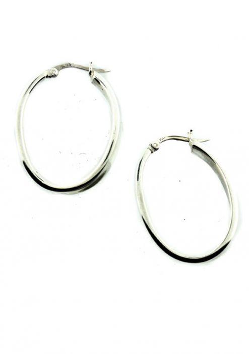 Sterling Silver Asymmetrical Oval Hoop Earrings - Hypoallergenic