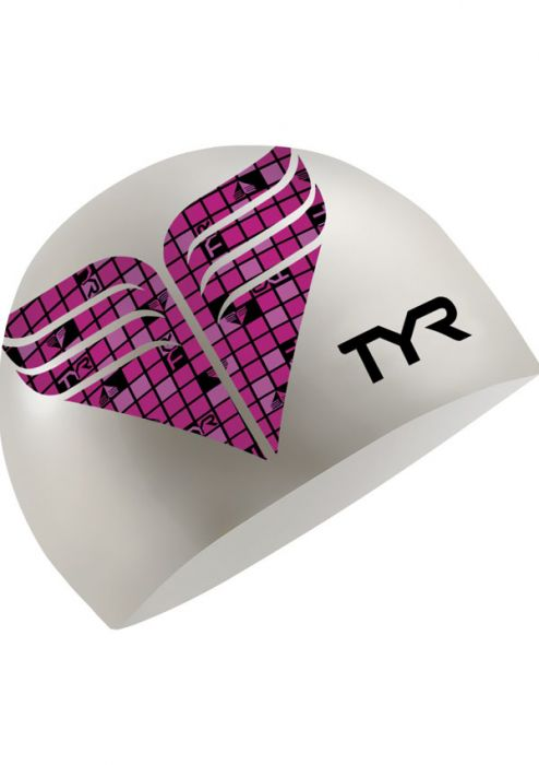 TYR Pink Wings Silicone Swim Cap for Breast Cancer |