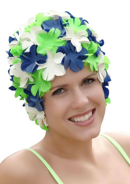 Retro Petal Flower Swim Caps Lillypad