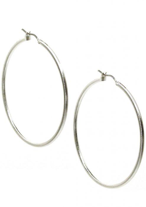 """Rhodium Plated Surgical Steel Earrings   2"""" Silver XL Hoop Earrings  """