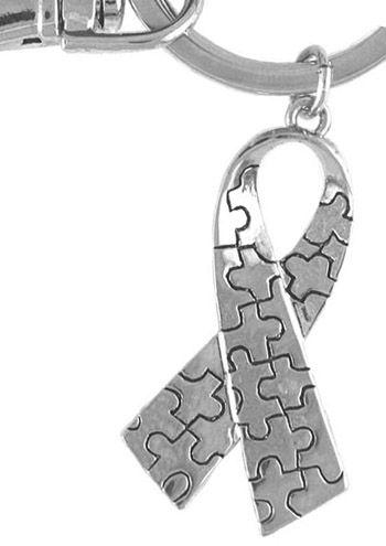 Silvertone Autism Awareness Puzzle Ribbon Keychain