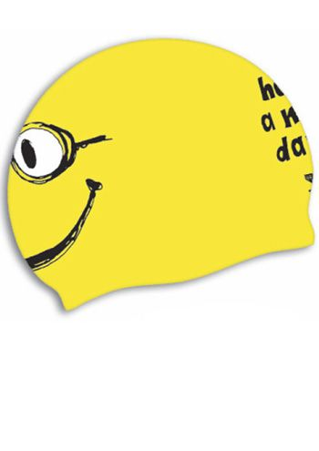 "TYR ""Have a nice day"" Smiley Silicone Swim Cap 