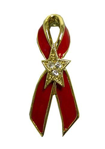 Aids Awareness Red Ribbon Tack Pin with Crystal Star |