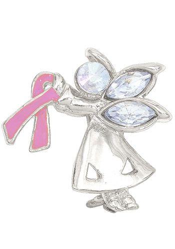 Breast Cancer Awareness Ribbon Angel Pin