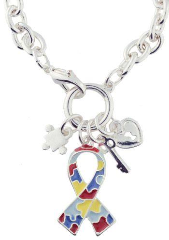 Autism Awareness Lobster Clasp Puzzle Ribbon Bracelet |