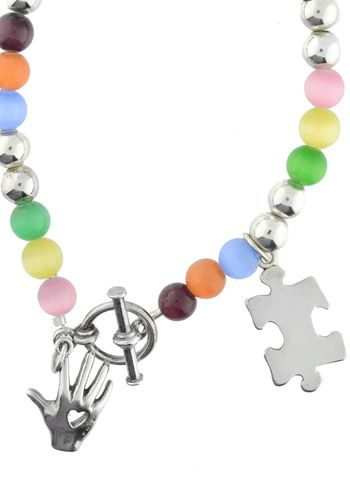 Autism Awareness Bracelet - Sterling Silver, Glass Cat Eye Beads