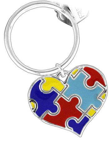 Autism Awareness Puzzle Heart Keychain