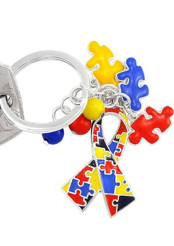 Autism Awareness Puzzle Ribbon Keychain