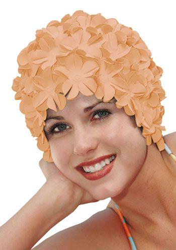 Retro Petal Flower Swim Caps | Vintage Coral