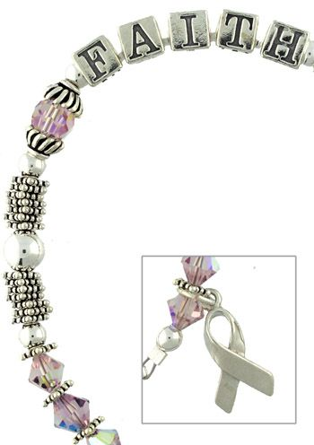 """Faith"" Sterling Silver Breast Cancer Pink Ribbon Bracelet"