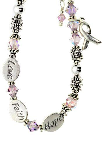 Pink Ribbon Bracelet for Breast Cancer - Sterling Faith Hope Love |