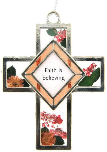 Faith Is Believing - Botanical and Stained Glass Cross