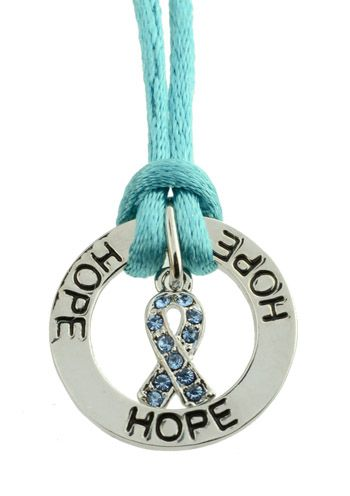 Ovarian Cancer Awareness Satin Necklace with Teal Ribbon Charm |