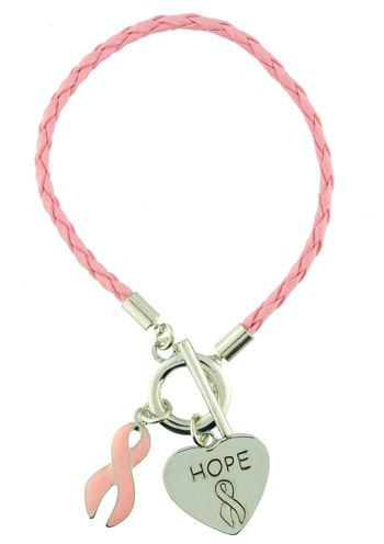 Braided Leather Hope Breast Cancer Bracelet