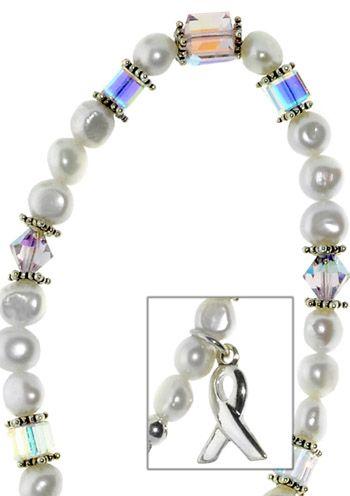 """""""Awareness"""" Iridescent Cancer Bracelet - Sterling Silver"""