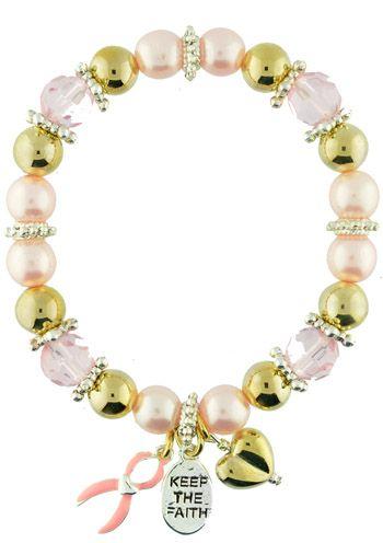 Breast Cancer Keep the Faith Bracelet with Goldtone Beads