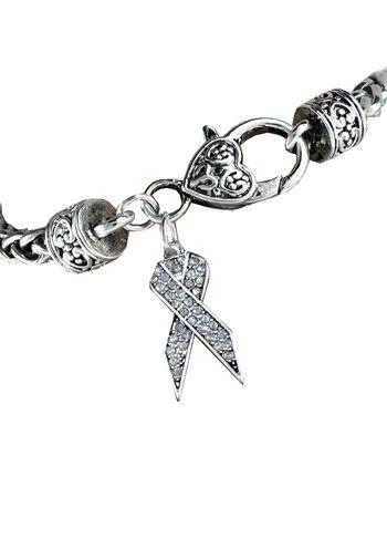 Lung Cancer Awareness Ribbon Rhinestone Bracelet  