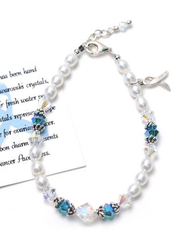 Ovarian Cancer Awareness Pearl and Crystal Bracelet - Sterling Silver |