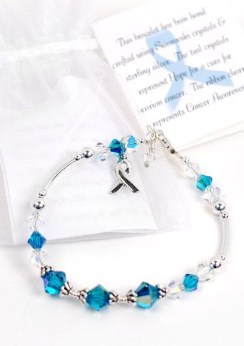 Ovarian Cancer Awareness Crystal & Sterling Silver Bracelet