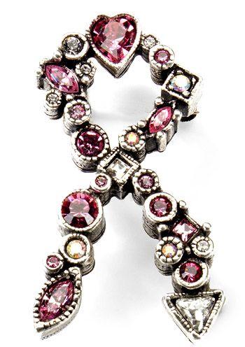 Patricia Locke Pink Ribbon Pin - Breast Cancer Awareness Broach Pin