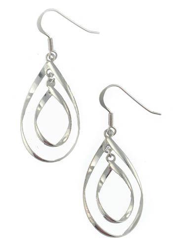 Sterling Silver Double Teardrop Twist Hypoallergenic Earrings